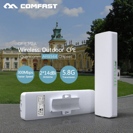 300Mbps 5.8G Wireless outdoor router 802.11AC WIFI Repeater 48V POE power AR9344 WiFi Access Point CPE bridge COMFAST CF-E312A