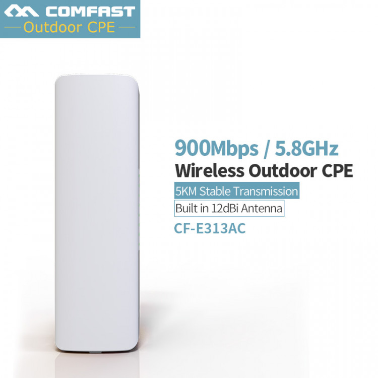 900Mbps COMFAST CF-E313AC 5KM Long Range WIFI 5 8Ghz Outdoor Mini Wireless  AP Bridge WIFI CPE 12dBi WI-FI Antenna Nanostation