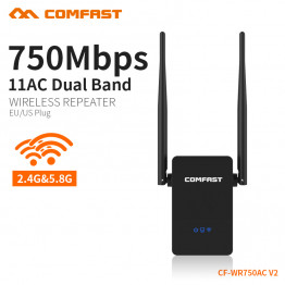 CF-WR750AC V2 Professional Wireless Wifi Repeater 750Mbps Dual Band 2.4/5.8G Range Expander Signal Booster Router