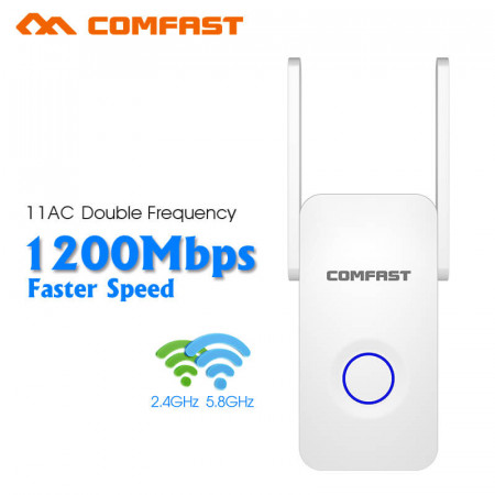 COMFAST CF-WR752AC 2.4Ghz&5Ghz Dual Band 1200Mbps Wireless Repeater WiFi Extender 2*3dbi Repeater Mini Wifi Router Access Point