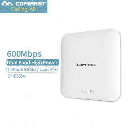 Comfast Indoor Celling 600Mbps 11ac 2.4G/5G Wireless WiFi AP Access Point WiFi Extender Router with PoE Adapter Power Amplifier