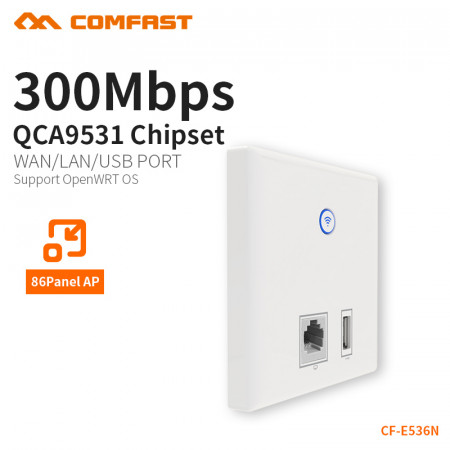 COMFAST Wall Embedded ap 300mbs access point RJ45 usb charger port wifi in-wall 48v power supply hotel use AP dual 3dBi CF-E536N