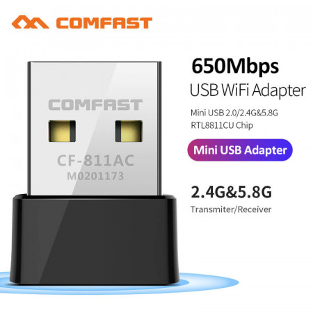 Comfast CF-811AC 650Mbps Wireless USB Wifi Adapter Receiver 2.4+5 Ghz USB Wifi 802.11n/g/b/ac Network Card For PC Wi-fi Dongle