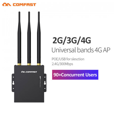 Comfast CF-E7 2.4G LTE Wireless AP Wifi Router Outdoor CPE plug and play 4G SIM card Waterproof Hotspot Wireless 3*5dBi antennas