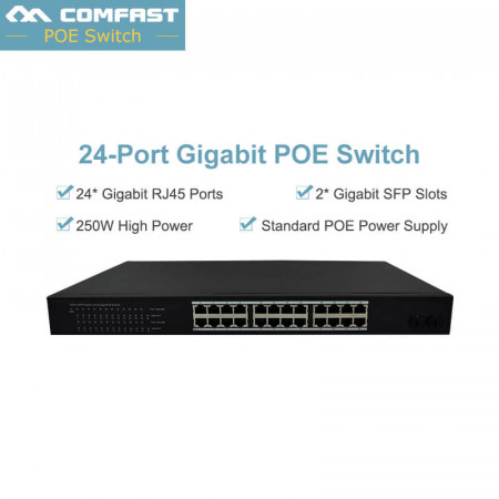 10/100/1000M 24 Ports Gigabit PoE Switch AP Manager RJ45 Smartlink POE Switch Network Of Compatible Network Cameras Wireless AP