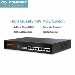 Comfast 10/100/1000Mbps 8 Ports PoE Switch output Power 53V DC 60W 2K MAC add table for IP telephone/Monitor system/Wireless cpe