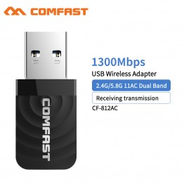 Comfast CF-812AC Wifi Ethernet USB 3.0 Network card 1300Mbps 2.4G&5.8G dual band wireless USB wifi Adapter Wi-Fi Receiver Dongle