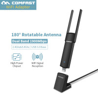 1900Mbps USB WiFi Adapter 5Ghz USB 3.0 802.11ac Dual Band 4*2dbi WiFi Antenna Wi-Fi Receiver Support Windows XP for PC
