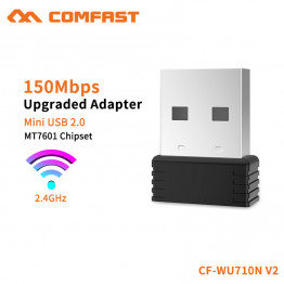 COMFAST Mini Wifi Adapter Usb Wifi Antenna MTK7601 Chip 150Mbps 2.4G Desktop PC Receiver Soft AP Function Black CF-WU710N-V2