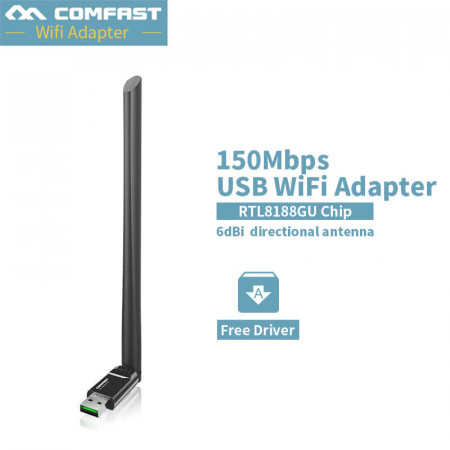 2019 ~ COMFAST Free driver usb wifi wireless PC network card 150Mbps Mini wifi adapter with 6dBi antenna WPS one key encryption