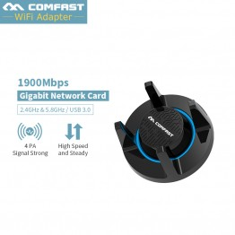 1900Mbps Sports Dual Band Wireless USB 3.0 wifi 2.4G&5.8G Dongle Adapter 802.11a/g/n/ac Antenna Network Card Comfast CF-958AC